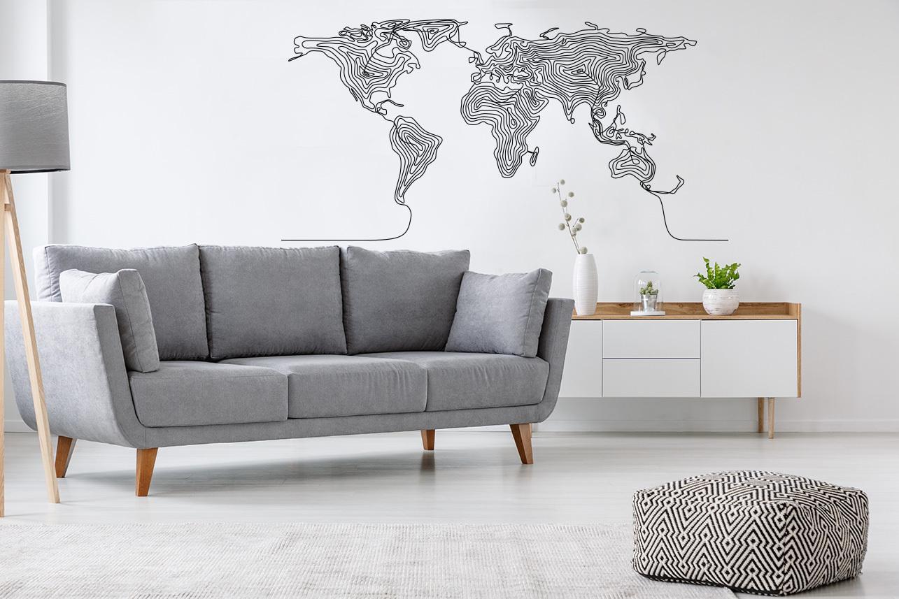 Naklejka z mapą świata – dekoracja w modnym stylu